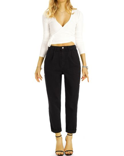 Medium waist Mom Jeans Boyfriend High Waist Hose - 7/8 Bundfalten Hose Locker Bequem -  Damen - j24g-4