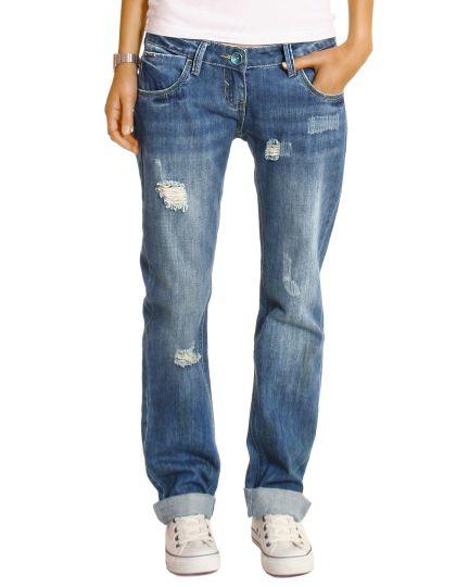 Boyfriend Jeans Hose Hüftjeans im Baggy Loose Relaxed Fit zerrissen Destroyed Style Optik von bestyledberlin - j1z