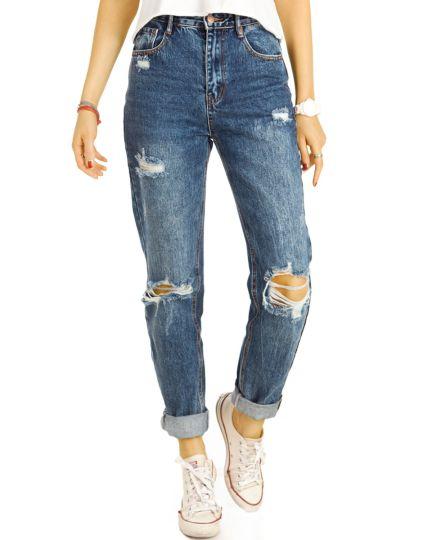 Mom Jeans Boyfriend High Waist Hose - Destroyed Locker Bequem -  Damen - j15f-1