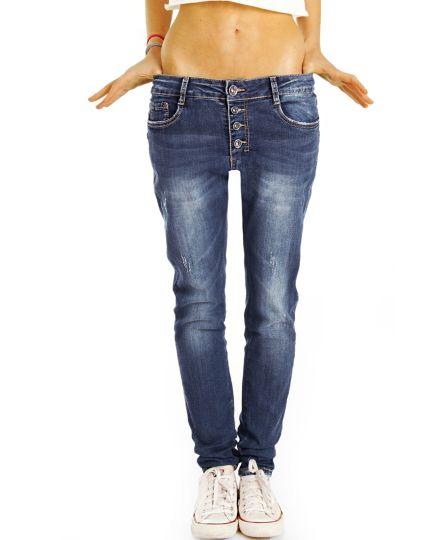 Medium Waist Baggy Jeans Tappered mit Knopfleiste - Bequeme Boyfriend Stretch Hose - Frauen- j7f