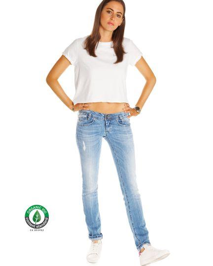 Premium Jeanshose aus Bio Organic Denim - Stretch Hüftjeans im Low Waist geraden Schnitt - Damen - Bi0_001