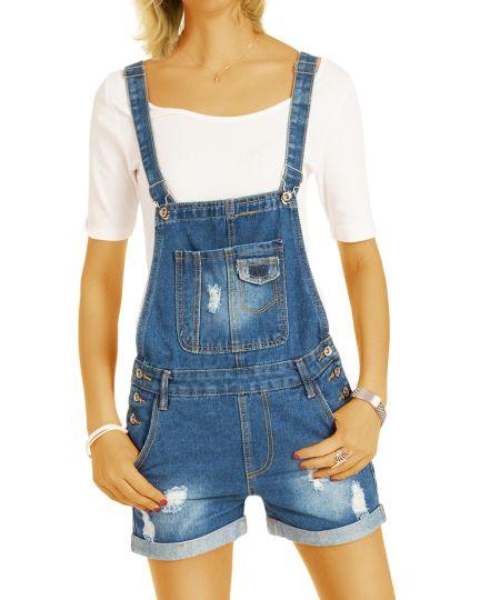 Latz Jeans Shorts Damen Hose - Cooler zerrissener Destroyed Look - Frauen - j9p-Q