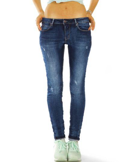 Skinny Röhrenjeans Stretch Fit in dunkelblau medium / low waist Hosen - Damen - j55L
