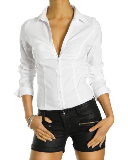Klassische Bluse, weißes bequemes Hemd, stetchiges leicht tailliertes Oberteil - Damen - t86p