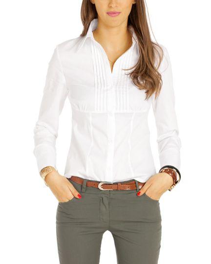 Elegante Blusen - Taillierte Langarm Hemden mit strukturierter Brust, volantierte Tops - Damen - t38z