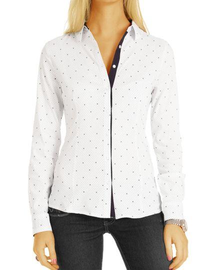 Blusen gepunktet - Damen Hemd Oberteil Top Kleidung Weiß - Damen - t74z