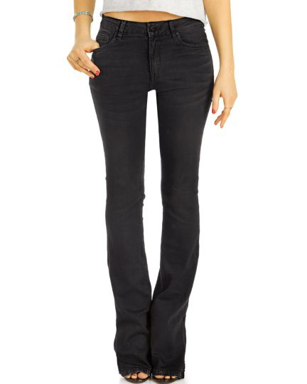 Bootcut Jeans Hüftjeans / Mid waist Bequeme schwarze Stretch Fit Passform Hosen -  Damen - j27r