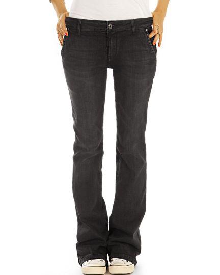Bootcut Jeans Hüftjeans Bequeme Stretch Fit Passform Hosen Medium Waist -  Damen - j28L