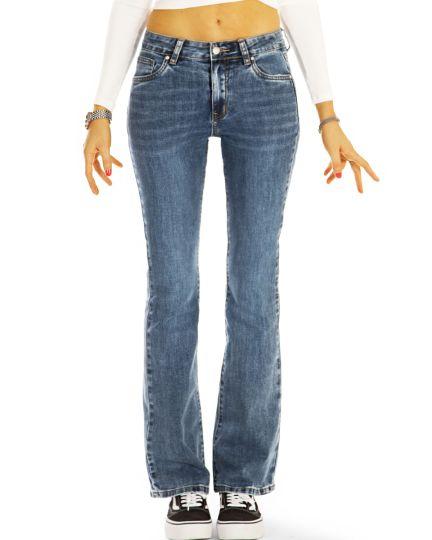 Bootcut Jeans Hüftjeans Bequeme Stretch Fit Passform Hosen Medium Waist -  Damen - j40L-1