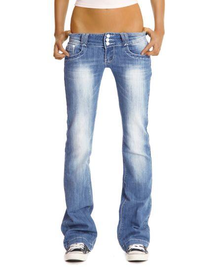 Bootcut Hüft Jeans Jeanshose mit Stretch Dreier Knopfleiste am Bund Dunkelblau Schlag Hose - j97y