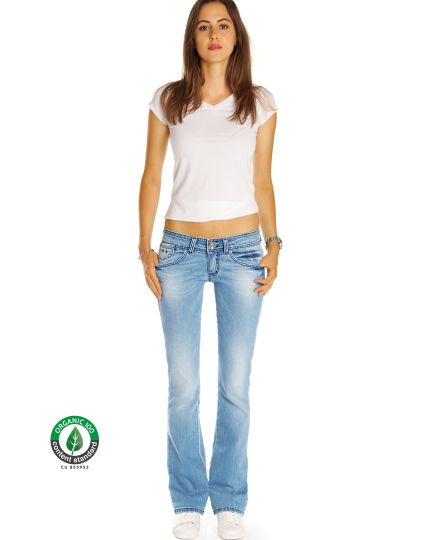 Premium Flared Bootcutjeans Hose aus Bio Denim - Low Waist Stretch Hüftjeans - Damen - Bi0_003