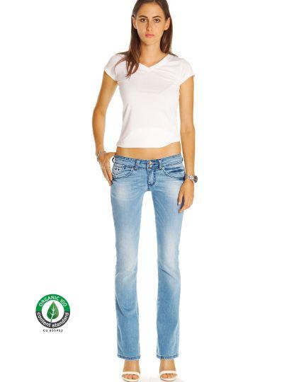 Premium Flared Bootcutjeans Hose aus Bio Denim - Low Waist Stretch Hüftjeans - Damen - Bi0_003a