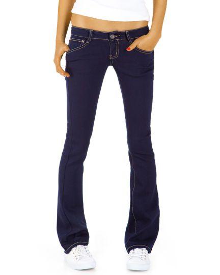Damen Bootcut Jeans - Basic Schlaghose mit hüftigem Bund - j43kw