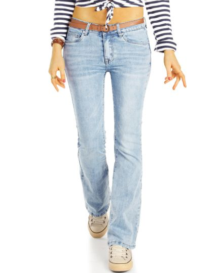 Bootcut Jeans Hüftjeans Bequeme Stretch Fit Passform Hosen Medium Waist -  Damen - j28r