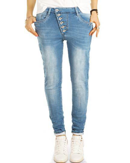 Boyfriend Low Waist Jeans Hose im lockeren, röhrigen Tapered Fit -  schräge Knopfleiste - Damen - j3p