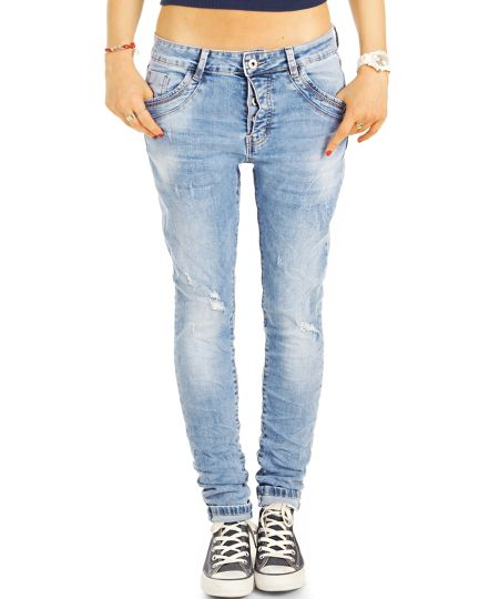 Boyfriend Jeans Hose Medium Rise Relaxed Fit - Locker bequem klassisch - j36L-2