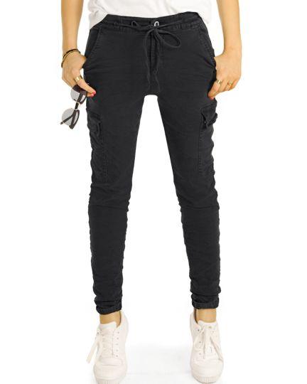 Cargo Hosen tapered, Slimfit medium / low  waist Hose stretch fit - Damen - j14r-1