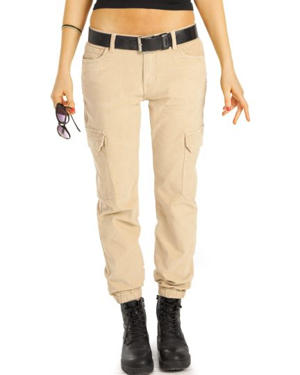 Cargo Cord Hosen tapered, cropped Style Hose stretch fit - Damen - j26r-1