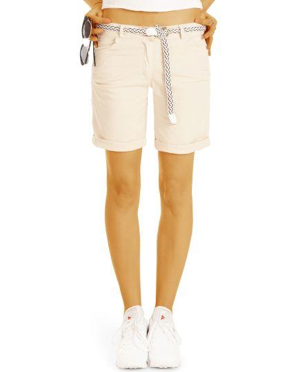 Sommer Chino Stoff Shorts - Kurze lockere Hosen mit Gürtel - Damen - h23a