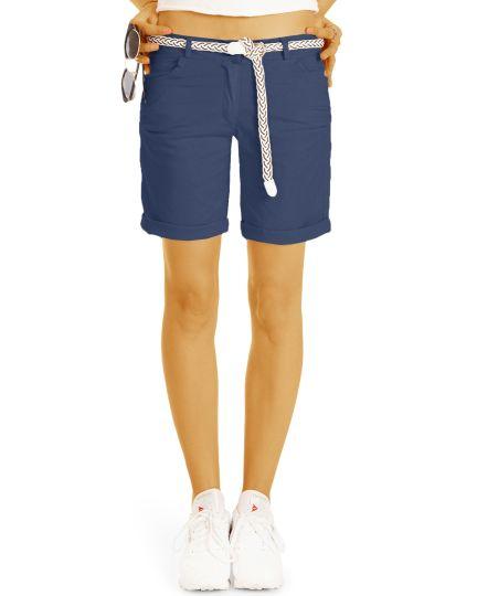Sommer Chino Stoff Shorts - Kurze lockere Hose mit Gürtel - Damen - h23a