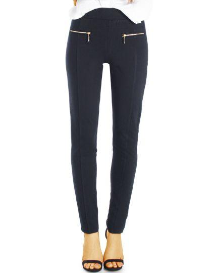 Schwarze Elegante Stoffhose - Klassische Röhren Hose eng geschnitten skinny slim fit - Damen - j19L