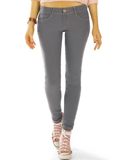 low waist slim cut Jeans regular graue Jeans stretch Hosen - Damen - j48L