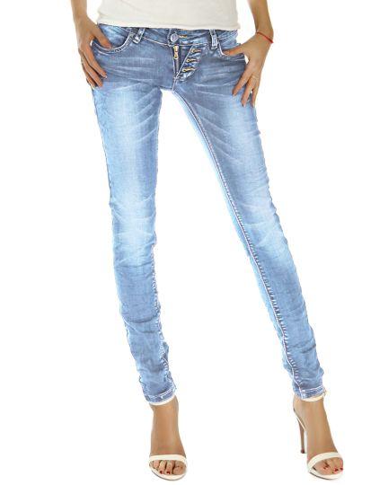 bestyled Damen Hüftjeans - Stretchige Slim Fit Jeans mit Details - j214p