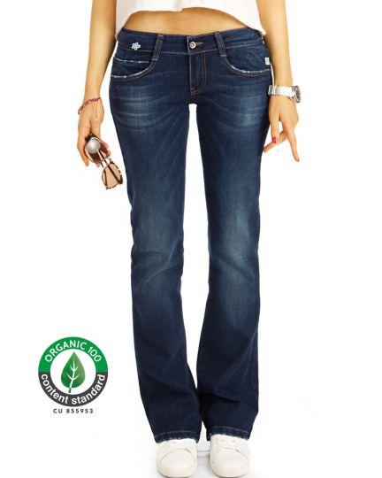 Premium Flared Bootcutjeans Hose aus Bio Denim - Low Waist Stretch Hüftjeans - Damen - Bi0_005