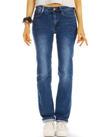 Medium waist straight cut Jeans regular blaue demim stretch Hosen - Damen - j34L