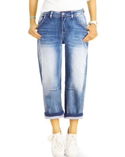 Highwaist Mom Jeans Boyfriend Medium Waist Hose - 7/8 Destroyed Locker Bequem -  Damen - j11p