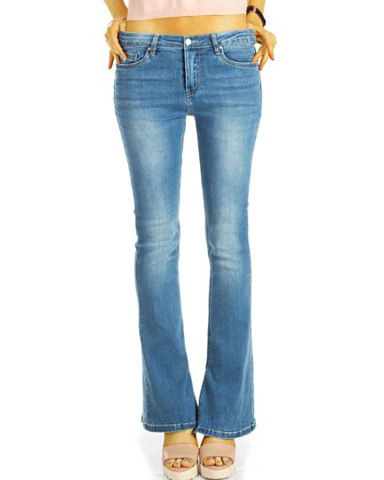 Bootcut Jeans Hüftjeans / Mid waist Bequeme blaue Stretch Fit Passform Hosen mit cut-out -  Damen - j20i-3