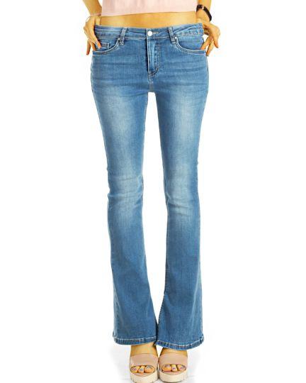 Bootcut Jeans Hüftjeans / Mid waist Bequeme blaue Stretch Fit Passform Hosen mit cut-out -  Damen - j20i-3