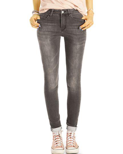 Medium Waist Röhrenjeans Skinny Fit Stretch Hose in Used Vintage Grau - Damen - j2g