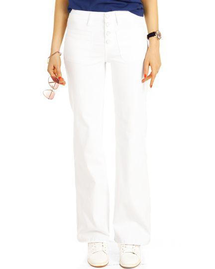 Bootcut Jeans, medium waist Jeans blau und weiß , Hosen mit ausgestelltem Bein  -  Damen - j16r-1
