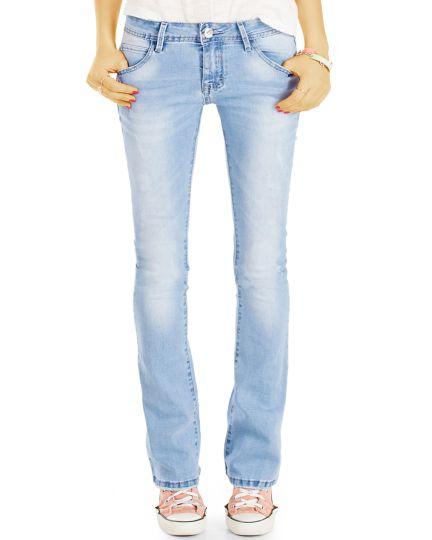 be styled Low Waist Hüftjeans Bootcut Jeans Hose  Schlagjeans ausgestelltes Bein- Damen - j76f