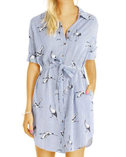Damen Hemdenkleider - Kleid im maritimen Blusen Style- t67z