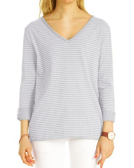 Shirt, Longtop Longsleeve maritim gestreift T-Shirt mit V-Ausschnitt Top Bluse langärmelig Oberteil  - Damen - t122z