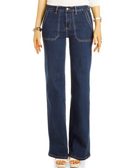 Bootcut Jeans, medium waist Hosen blau und schwarz, stretch fit Passform Hosen -  Damen - j31k