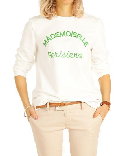 Damen Pullover, Shirt mit Crew Neck Jersey Top Sweatshirt Oberteil  - Frauen - t78z