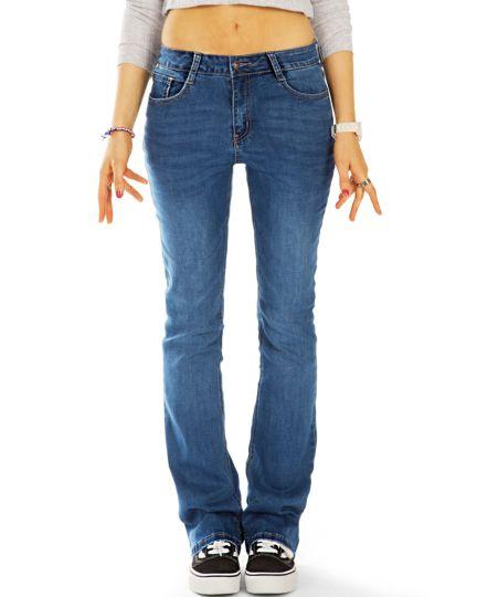 Medium waist bootcut Jeans regular blaue denim stretch Hosen, Schlaghose - Damen - j47L