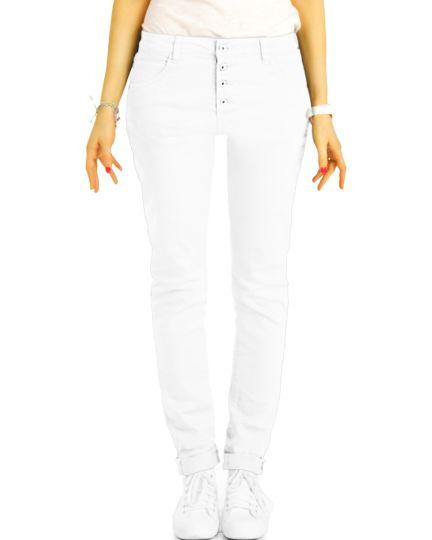 Medium - Low Waist Baggy Jeans Tappered mit Knopfleiste - Bequeme Boyfriend Stretch Hose - Damen - j30L-3