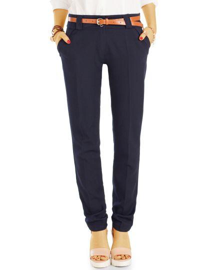 Damen Bügelfalten Hosen - Basic Stoffhosen im Regular Fit - j70f