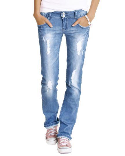 Hüftjeans Destroyed - gerades Bein bis leicht Bootcut Jeans Hose Vintage Look zerrissene Optik Dunkelblau - j28x