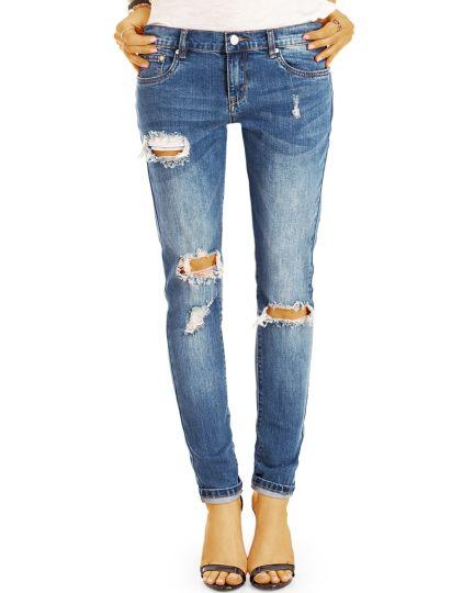 Hüftjeans zerrissene Destroyed Hosen in  Used-Optik, röhriger Skinny Slim Schnitt - Damen - j5L-Q