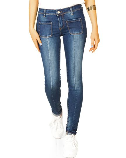 Hüftjeans Röhrenjeans skinny denim Hosen stretch slimfit mit aufgesetzten Fronttaschen - Damen - j45g