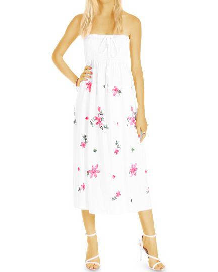 Kleider, florale Sommerkleider Bandeau Maxi - Midi Kleid Blumenmuster - Damen- k82p