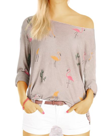 Langarm Shirt / Top - Leichter Strick-Pullover mit Flamingo Muster - Damen - t68z