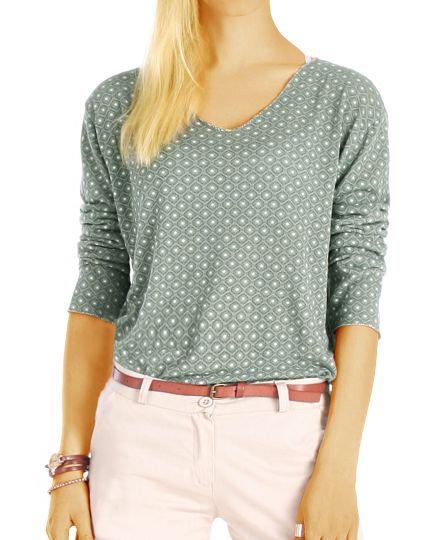 Damenshirt, Bluse mit stylischem Muster, leichter langarm Pulli t69z
