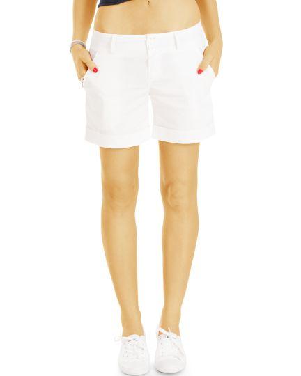 Chino Shorts - Basic Stoff Hotpants kurze Hosen -  Damen - j40l