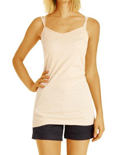 Langes Basic Träger Top Shirt - Oberteil tailliert in vielen Farben - Damen - t83z